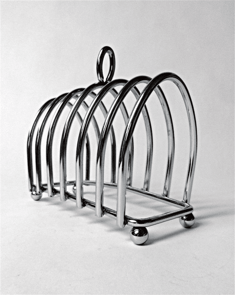 Vintage Kitchen Chrome Plated Plate Toast Rack 6 Slice Circa 1950s Tableware Letter