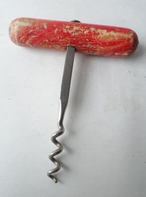 Vintage Kitchen Corkscrew Painted Red Wooden Handled Direct Pull T Pull Circa 1950s Square Shank
