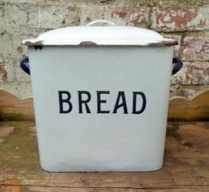 Vintage Kitchen Enamel Large White & Blue Bread Bin 1930s