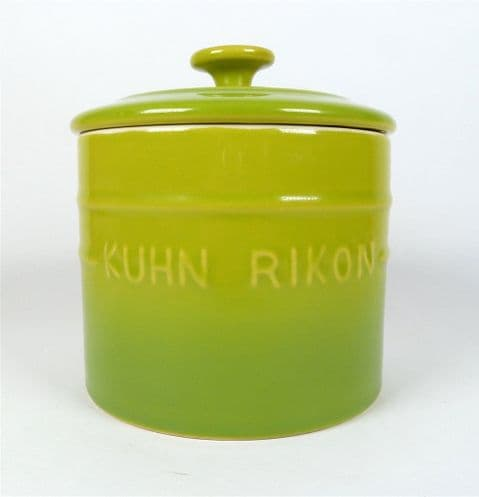 Vintage Kitchen Kuhn Rikon Switzerland Green Pottery Storage Jar Canister Tea Coffee Sugar Etc