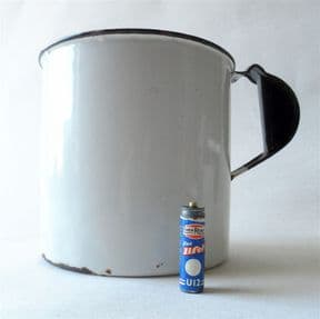 Vintage Kitchen Large Enamel Flour Grain Cup Measure White Blue Edge 1940s Utensil Holder Display