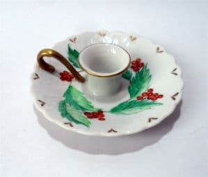Vintage Kitchen Porcelain Holly Leaf Berry Christmas 1976 Chamberstick Chamber Stick Candle Holder