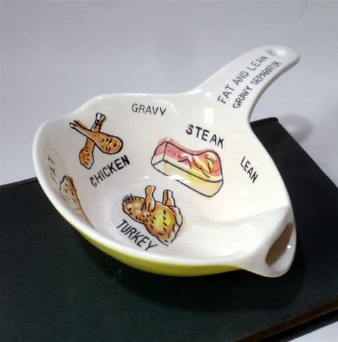 Vintage Kitchen Pottery Yellow & White Pictorial Fat Lean Gravy Separator 1950s Spoon Rest Boat