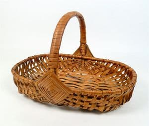 Vintage Kitchen Small Handmade Wicker Egg Gathering Basket 1930s Floral Flower Foraging Quality Cute