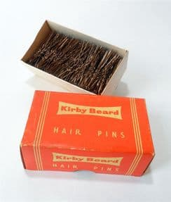 Vintage Ladies Fashion Kirby Beard Invisible Hair Pins Unused in Original Box 1000 Brown Circa 1950s