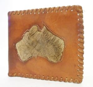 Vintage Leather Wallet Souvenir of Australia Capitol Product NSW Genuine Kangaroo Fur Circa 1960s