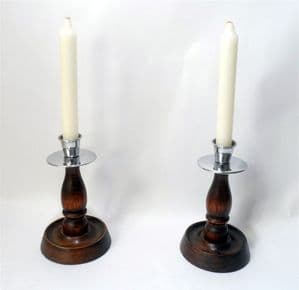 "Vintage Lighting Pair 6.25"" Chrome & Oak Traditional English Candlesticks Candle Holders Deco 1930s"