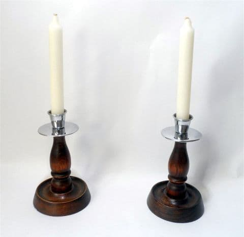 """Vintage Lighting Pair 6.25"""" Chrome & Oak Traditional English Candlesticks Candle Holders Deco 1930s"""
