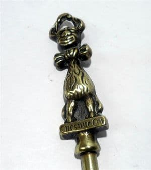 Vintage Long Handled Brass Fire Toasting Fork Cheshire Pussy Cat Circa 1930s Alice in Wonderland?