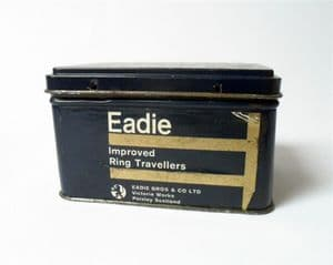 Vintage Loom Spinning Ring Travellers Tin Eadies Improved Paisley Scotland 60s Eadie Brothers Co Ltd