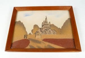 Vintage Marmotinto Sand Painting Whippingham Church IOW Isle of Wight  Alum Bay Sands Hand Made