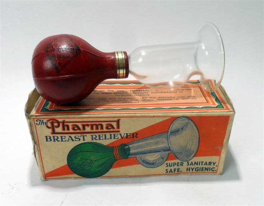 Vintage Medical Boxed Pharmal Glass & Rubber Breast Reliever Leyland Birmingham 1930s Pump Feed