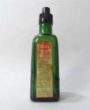 Vintage Medical Izal Germicide Green Glass Poison Bottle 1930s Bakelite Top  Household Hospital