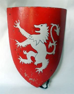 Vintage Medieval Knight Heater Wooden Shield Rampant Lion, Circa 1980s Armour Reenactment Wall Art