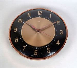 Vintage Metamec England Black Rose Gold Kitchen Battery Wall Clock Mid Century Jentique 60s Junghans