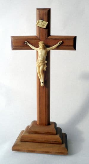 Vintage Mid Century French Wood Wooden Crucifix Cross on Base Christianity Jesus Christ Faux Ivory