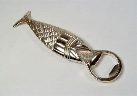 Vintage Mid Century Silver Plate on Copper Fish Bottle Opener Curved Tail Nice Detailing
