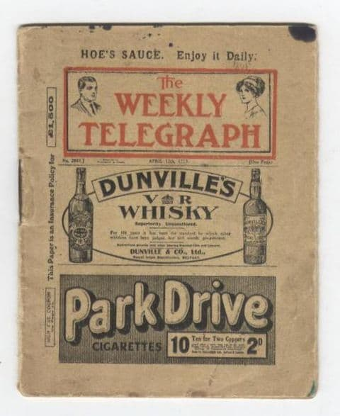Vintage Miniature Newspaper The Weekly Telegraph Sheffield Circa 1913 Mini Dunvilles Whisky Advert