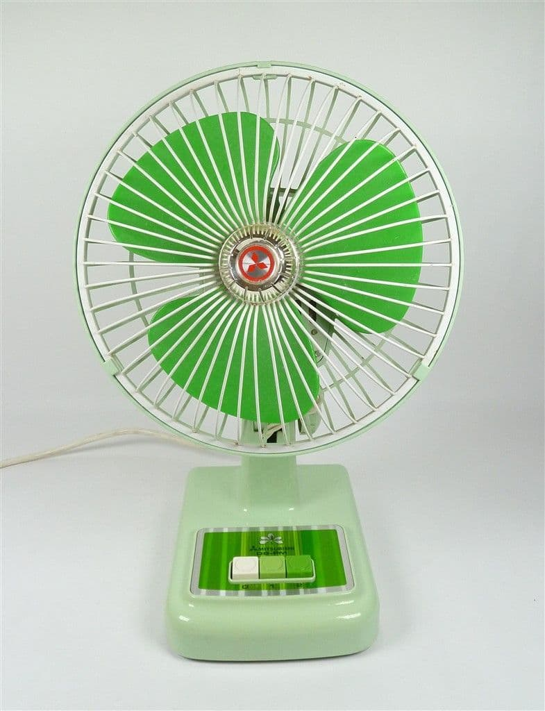 Vintage Mitsubishi D8-PM 20cm Electric Oscillating Table Desk Fan in Green 1970s Japan 2 Speed