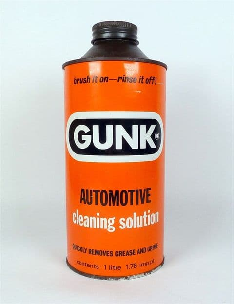 Vintage Motoring Garage Tin Fosmin Chemicals Ltd London Gunk Cleaning Solution 1 Litre Tin Contents