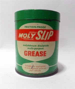Vintage Motoring Garage Tin Moly Slip Friction Proof Grease 1lb Tin c/w Half Contents Circa 1950s