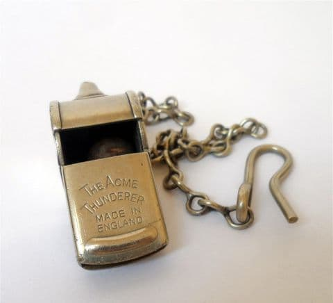 Vintage Newcastle Corporation Tramways Whistle c/w Chain Ca 1915-40 NCTEU Escargot Type Conductors