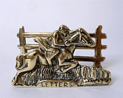 Vintage Office Desk English Brass Equestrian Letter Rack Horse Foxes Fox Hounds Hunting Letters