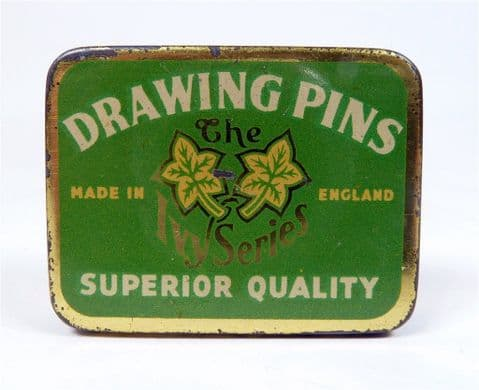 Vintage Office Tin The Ivy Series Made in England Superior Quality Drawing Pins Circa 1950s