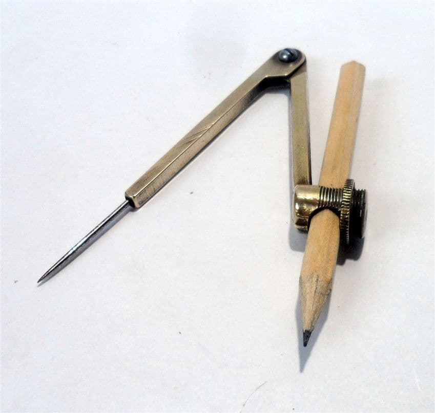 Vintage Old School Days English Brass Betten & Turward's Meritor Drawing Pencil Compass 1930s