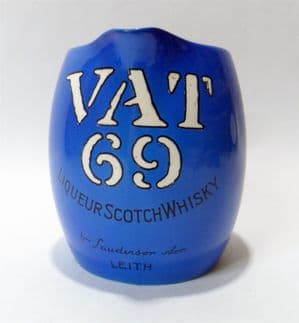 Vintage Pub Bar Blue Vat 69 Liqueur Scotch Whisky Advertising Water Jug Mintons England Circa 1930s