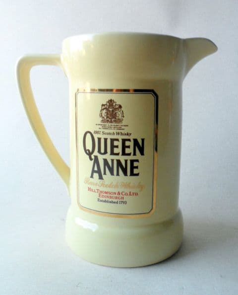 Vintage Pub Bar Queen Anne Rare Scotch Whisky Edinburgh Advertising Pottery Water Jug Wade England