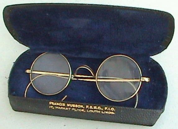 Vintage Round Spectacles Glasses Rolled Gold OTE Over the Ear Wire Arms W O Co Case Circa 1920s