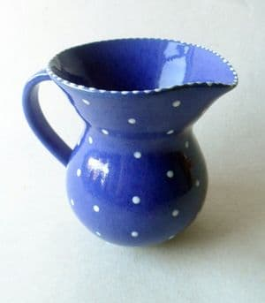Vintage Schofield Penrith Studio Pottery Jug Polka Dot Blue Not Stamped Wetheriggs