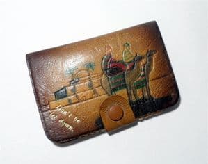 Vintage Sewing Leather Don't be let Down Needle Book Case Needles Safety Pins 1930s Camel Tunisia