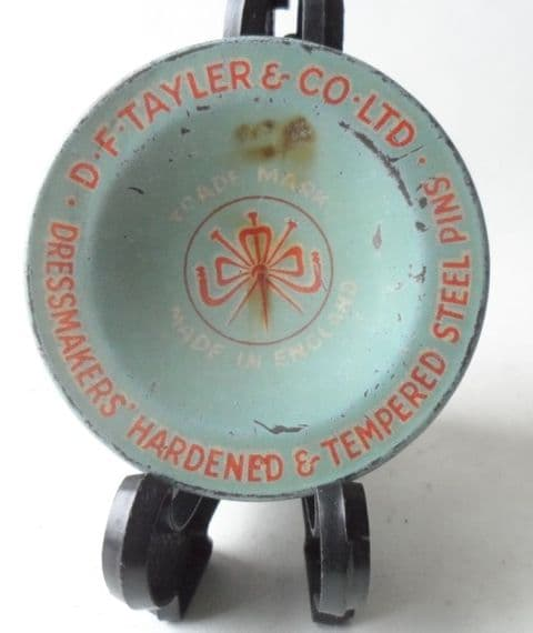 Vintage Sewing Tin D F Tayler & Co Ltd Dressmakers Steel Pins Dorcas Circa 1950s Early Example