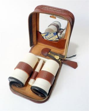 Vintage Shaving Leather Cased Gents Mens Grooming 4 Piece Set  Souplex White Bakelite Razor 1940/50s