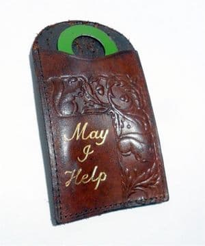Vintage Shoe Horn in Leather Case Motto Tooled Embossed May I Help 1930s Squirrel Acorn Travel