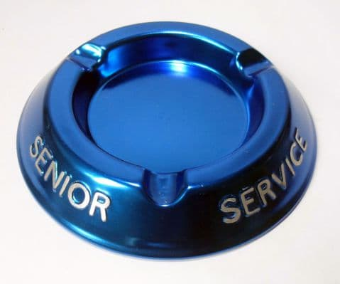 Vintage Smoking Advertising Senior Service Cigarettes Blue Aluminium Ashtray Unused Bar Pub