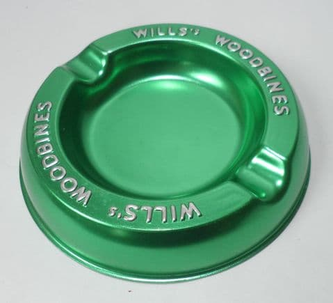 Vintage Smoking Advertising Wills's Woodbines Cigarettes Green Aluminium Ashtray Unused Bar Pub