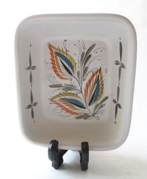 Vintage Stoneware Denby Pottery Leaf Design Small Hors d'oeuvres Dish Circa 1960s Glyn Colledge