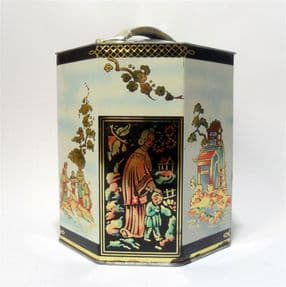 Vintage Storage Biscuit Tin Tea Caddy Peek Frean & Co London England Japanese Scenes 1950s Oriental