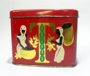 Vintage Storage Tea Caddy Tin Twinings Indian Ceylon  Scenes 1950s 1/2 Half Pound  Nectar Plant