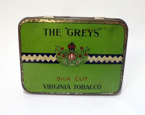 "Vintage The ""Greys"" Silk Cut Virginia Tobacco Tin 1950s Business Cards Major Drapkin Phillips NZ JG"