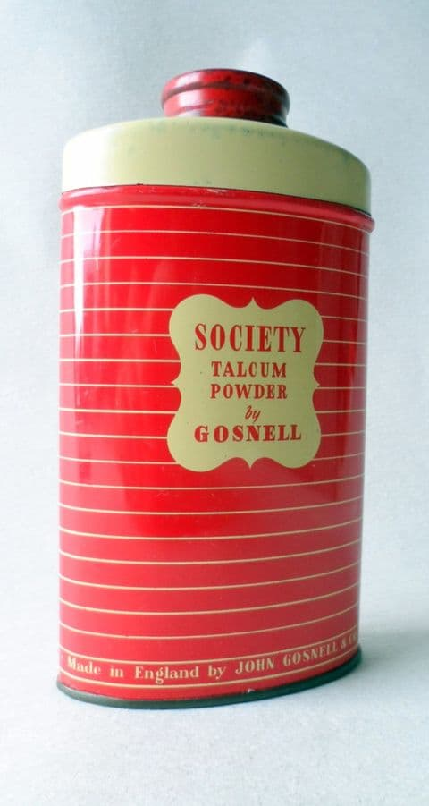 Vintage Tin Lavender Society Talc Talcum Powder by John Gosnell & Co Ltd of London & Lewes 1950s 60g