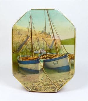 Vintage Toffee Horners Sweet Tin George W Horner Durham Cornish Boats Circa 1960s Fishing Harbour
