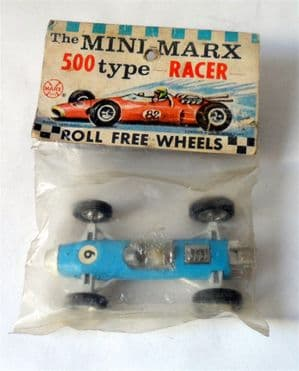 Vintage Toy Die Cast Model Mini Louis Marx 500 Type Racer Blue Racing Car 1960s Original Packaging