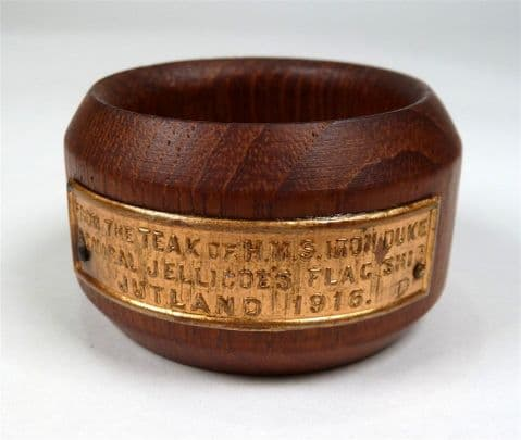 Vintage Treen HMS Iron Duke Teak Napkin Ring  Nautical Marine WW1 WW2 Royal Navy Admiral Jellicoe
