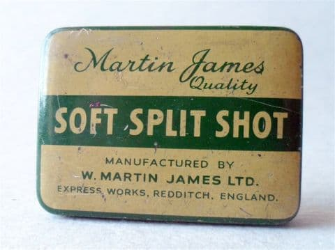 Vintage W Martin James Ltd Express Works Redditch England Quality Soft Split Shot Tin Circa 1950s Fishing Angling Tackle Box (1)