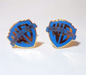 Vintage Warner Bros Brothers Cinemas Shield Type Enamel Cufflinks Circa 1990s Blue Gold Film Movies