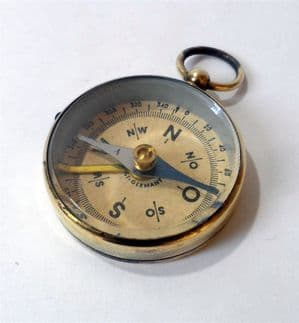 Vintage West German Brass Watch Fob Compass Albert Chain Needle Lock Walking Map Reading Military